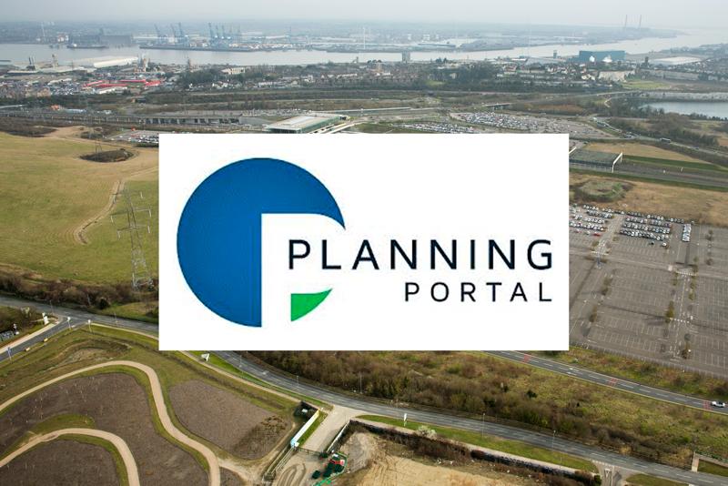planning portal logo in front of ebbsfleet garden city development