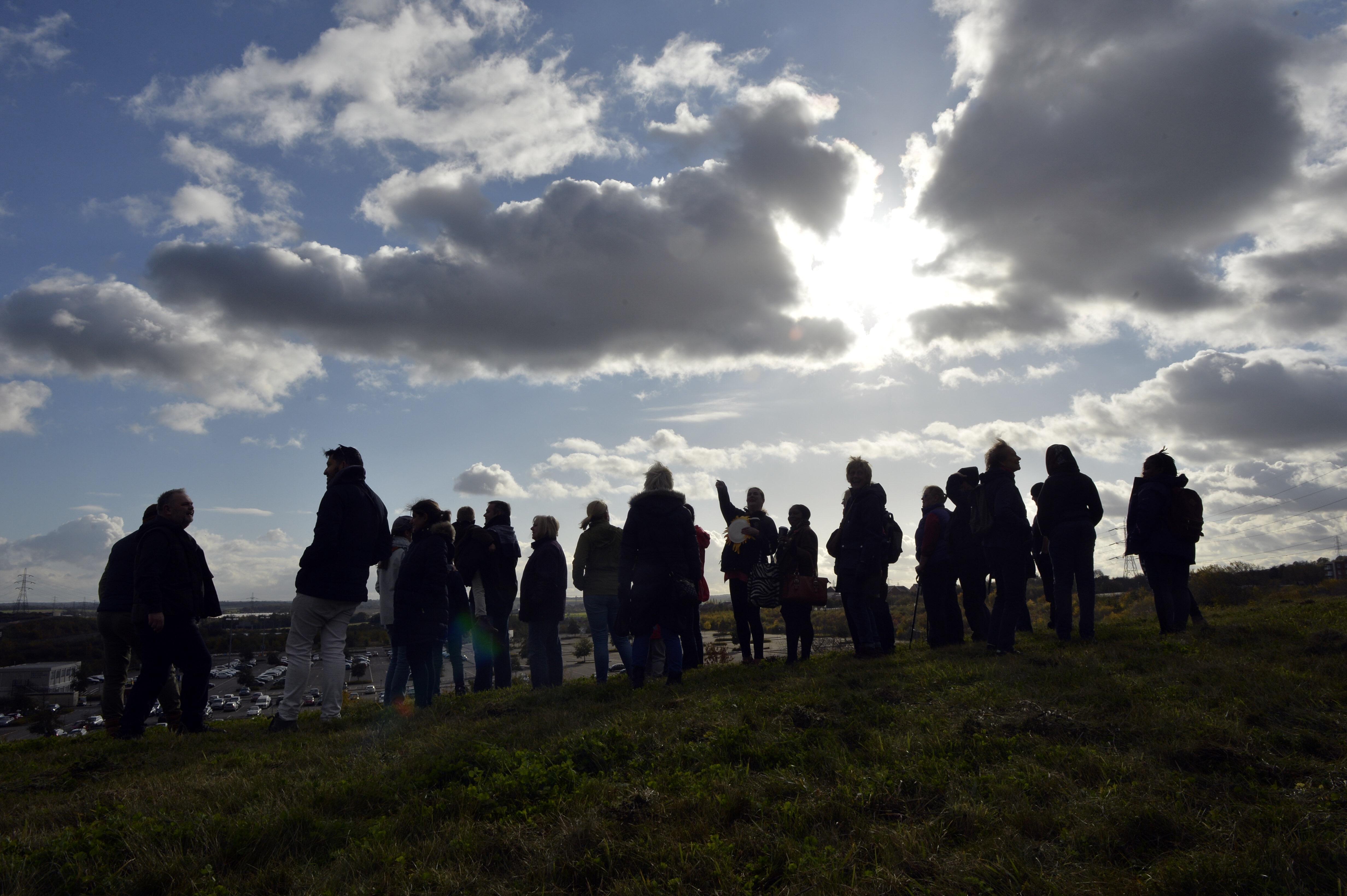 silhoette of people standing in field