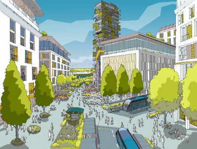 ebbsfleet artists illustration buildings and pedestrian area