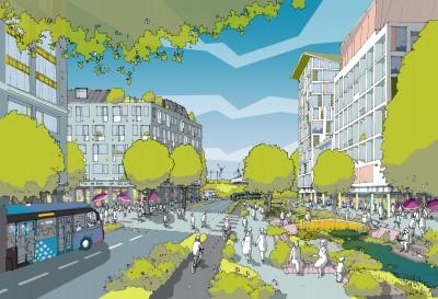 ebbsfleet artists illustration buildings park area
