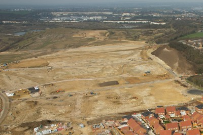 aerial view estate building site