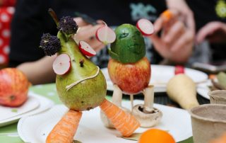 Vegetable scupltures at Ebbsfleet Community Event
