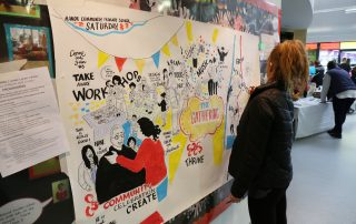 Girl looking at wall at Ebbsfleet Community Event