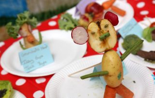 Vegetable scultpture at Ebbsfleet Community Event