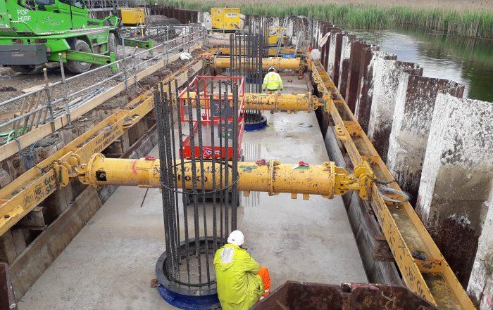Concrete pillars being laid