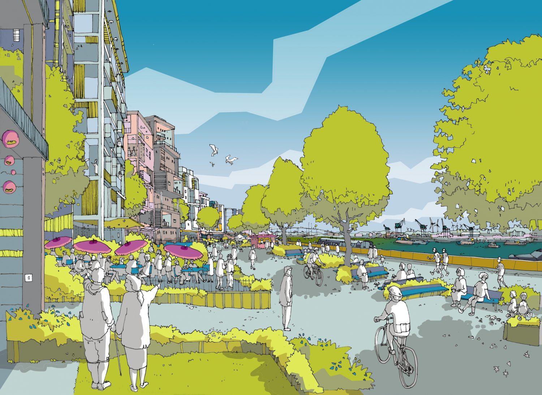 artist illustration of northfleet riverside
