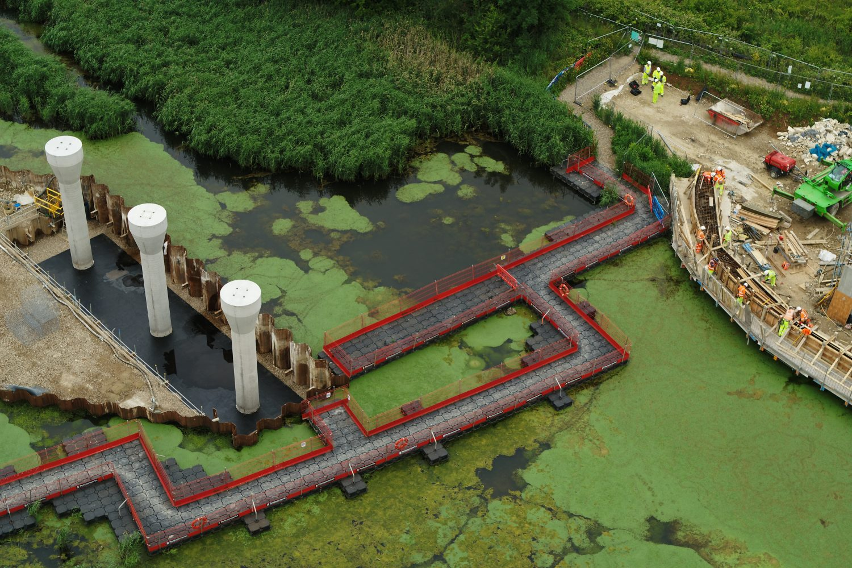 pillars in water