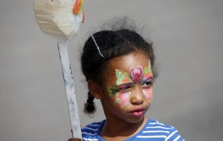 Close up of girl with painted face