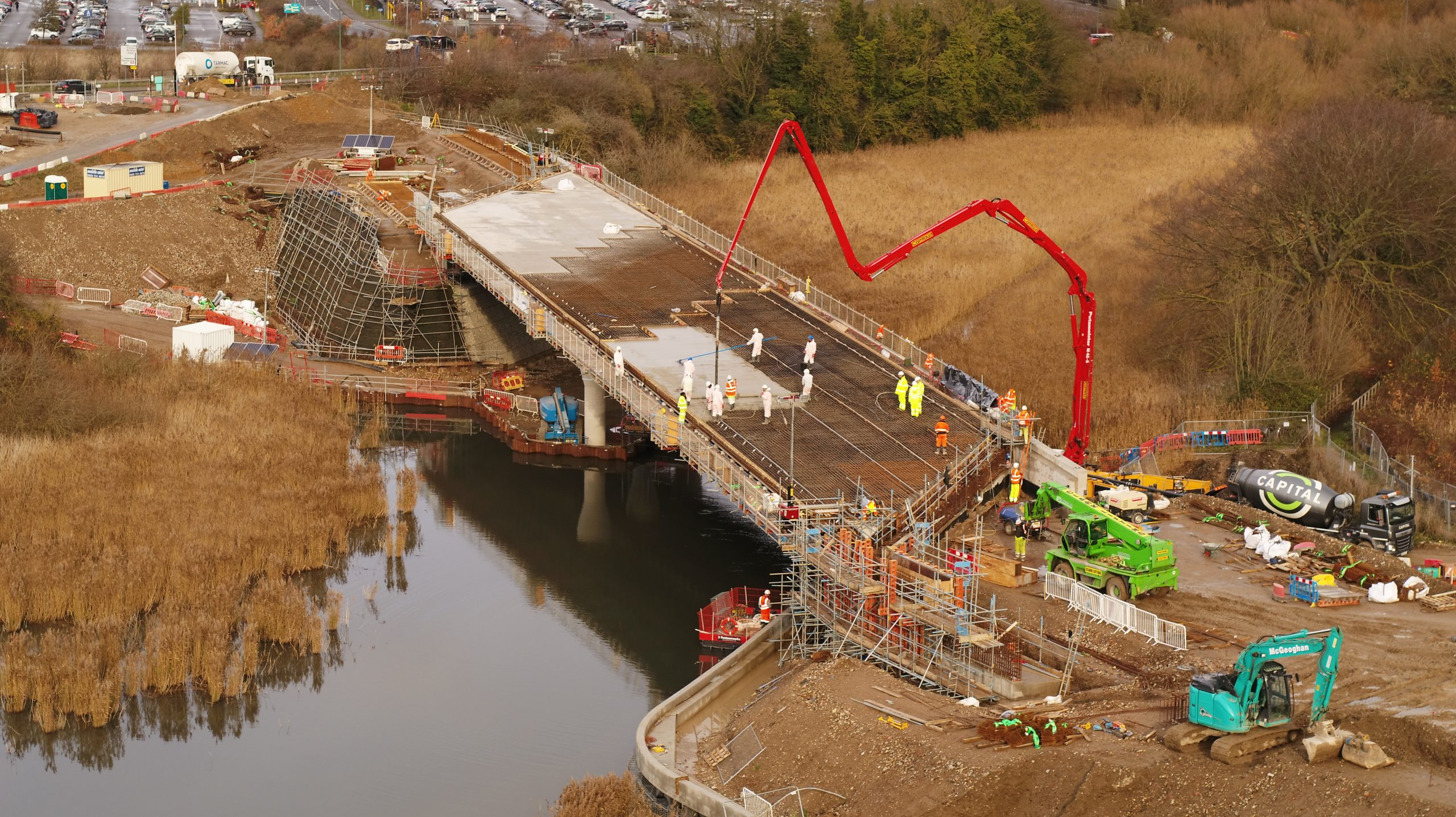Springhead Bridge with a red crane