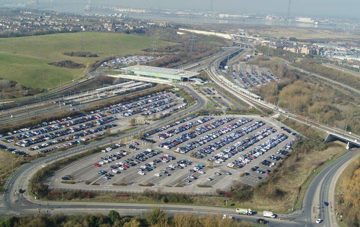 Ebbsfleet car parking wide shot