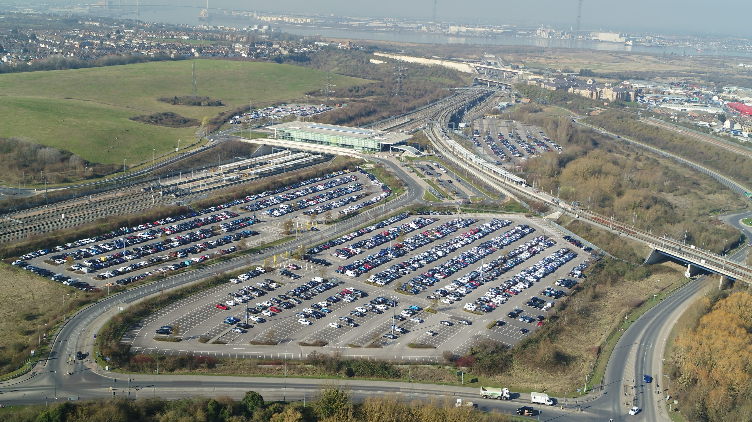 Ebbsfleet car parking wide shot