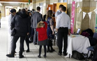 People looking at stands at the Ebbsfleet Jobs Fair