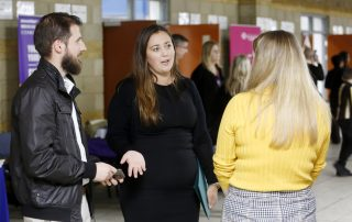 Man and two women at the Ebbsfleet Jobs Fair