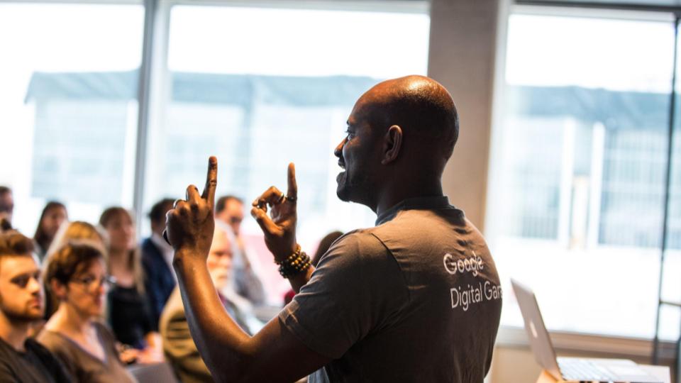 A man heads a google digital class