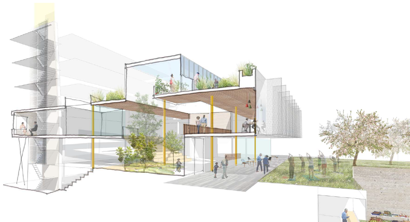 An artist impression of offices