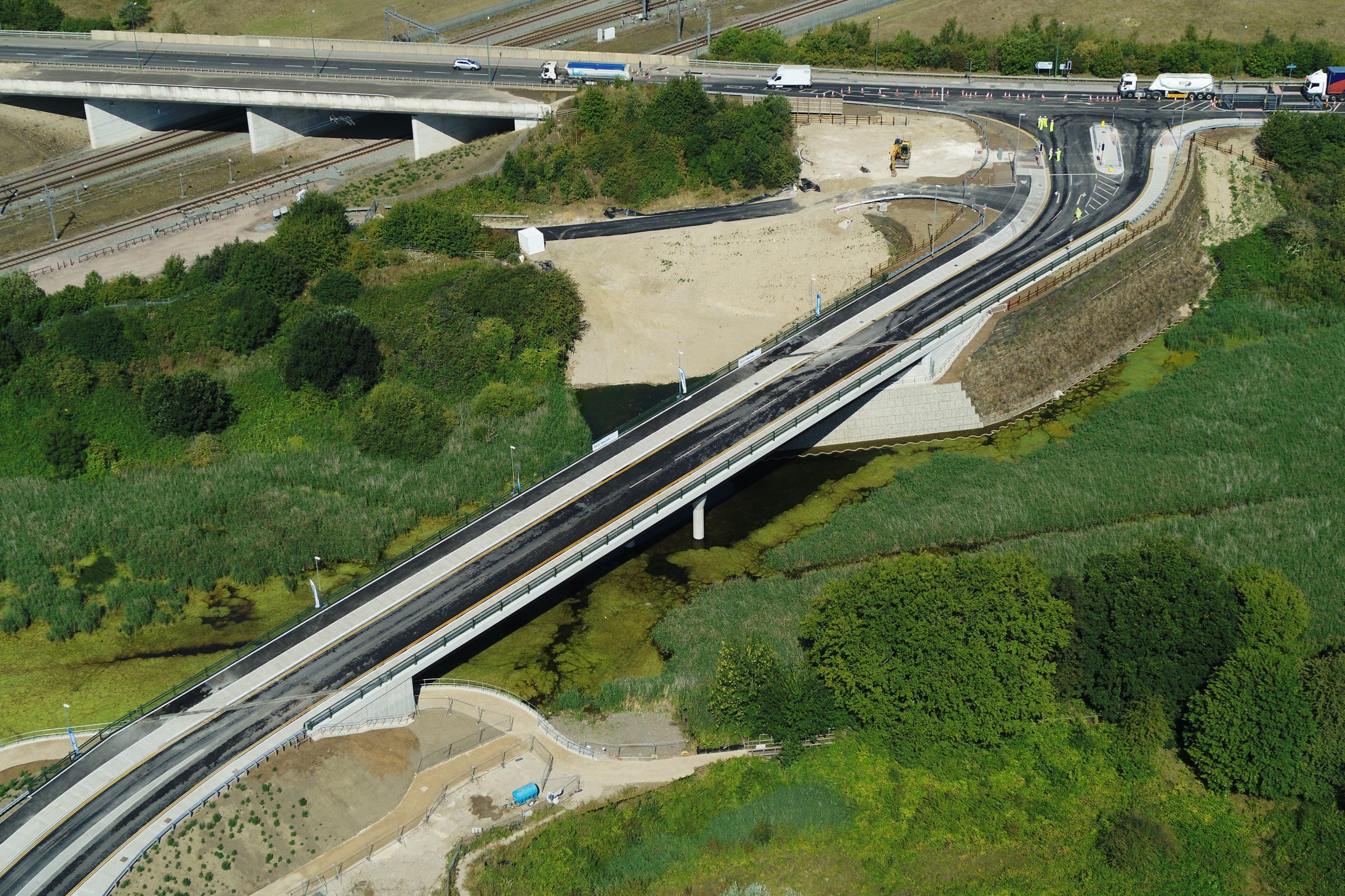 Springhead Bridge aerial view of crossing