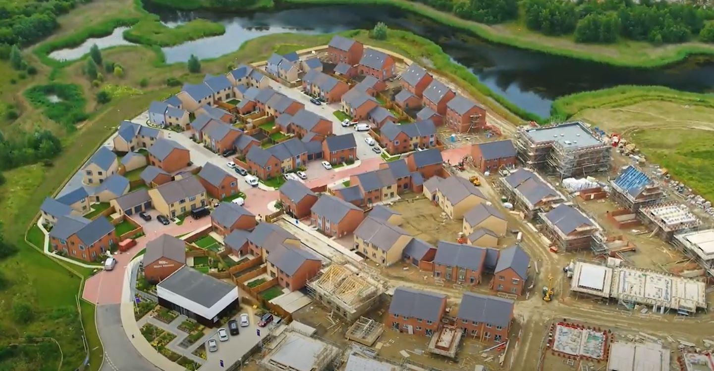 An aerial shot of the garden city
