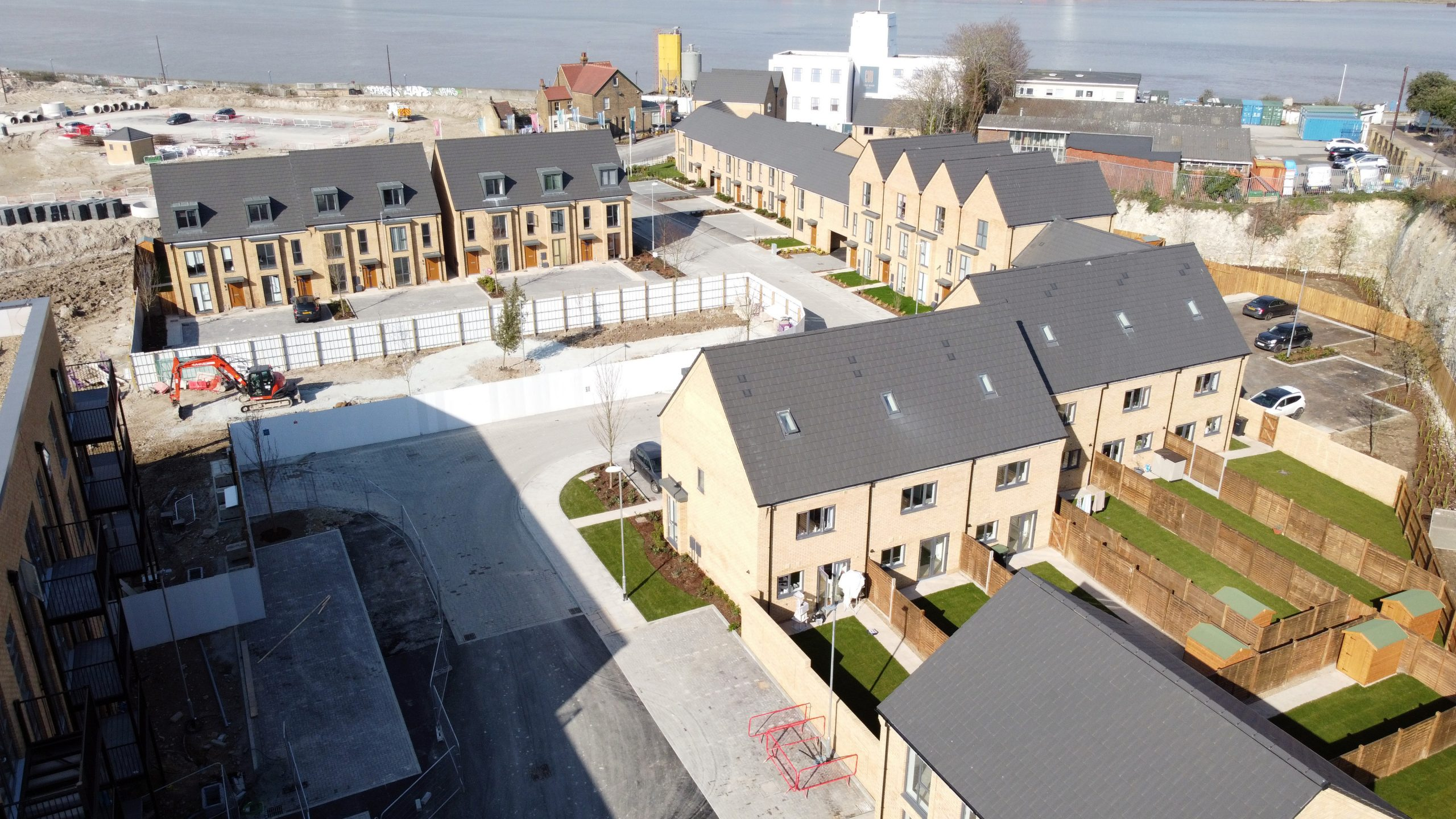 An aerial shot of the new homes